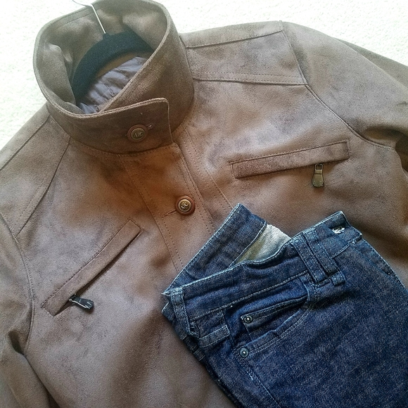 NEW Real Brown Suede Moto Jacket AC Collection